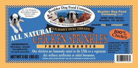 Boulder Chicken Sprinkles Product Label