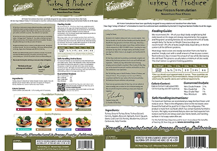 OC Raw Dog Food Packaging