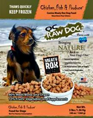 OC Raw dog food recalled 9-25-2015
