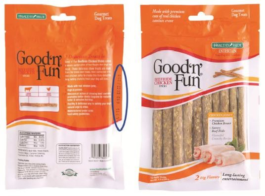 Salix recalled Good 'n' Fun Beefhide Chicken Sticks