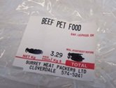 Surrey Meat Packers Pet Food Label